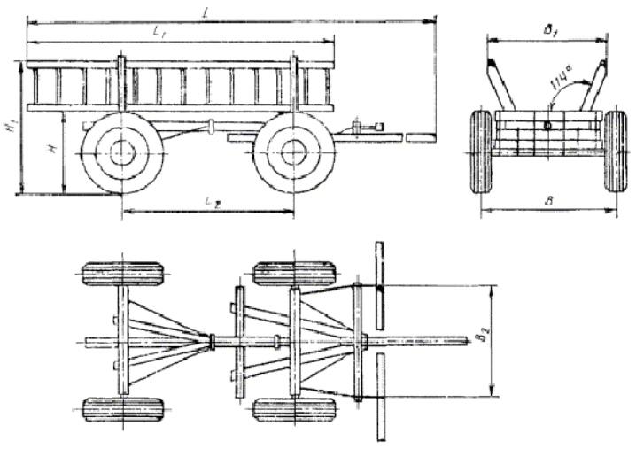 Чертеж передвижной тележки средних размеров с детальной прорисовкой
