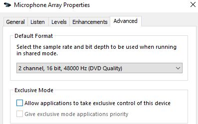 """Disable """"Allow applications to take exclusive control of this device"""" to solve mic problems"""