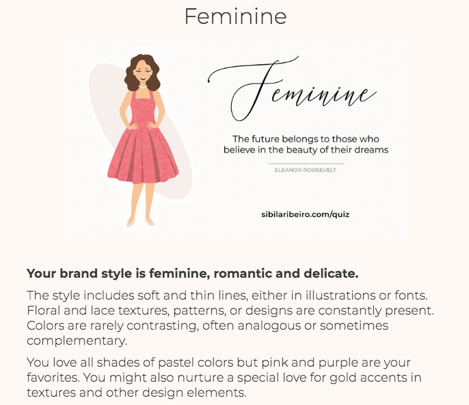 quiz results for feminine branding
