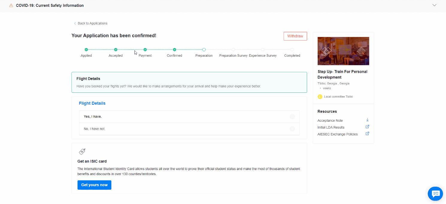 Náhled do osobního profilu aplikace po přihlášení