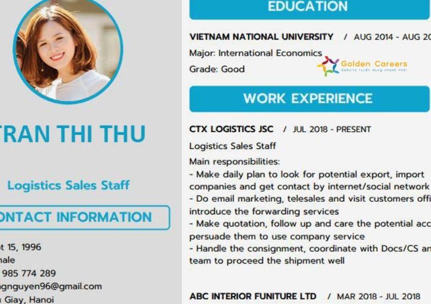CV nhân viên chứng từ xuất nhập khẩu tiếng Anh