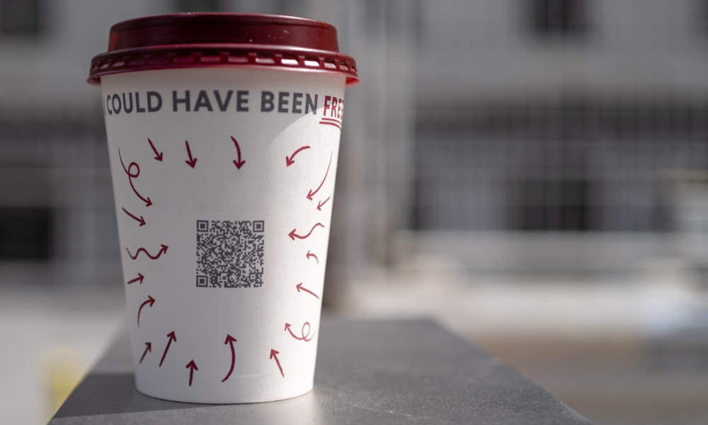 takeaway coffee cup with qr code