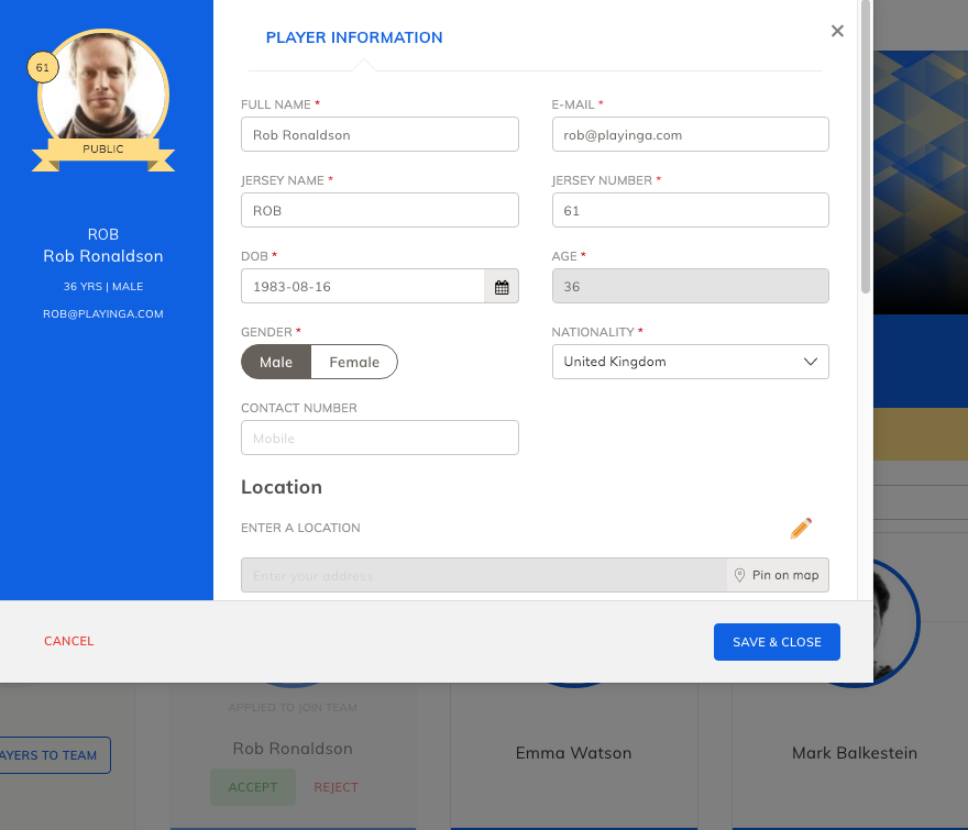 Player information