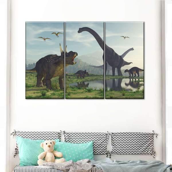Dinosaur World Multi Panel Canvas Wall Art