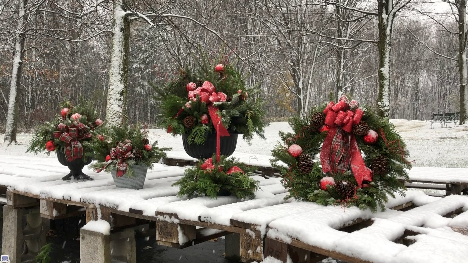 From Left to Right: Small Urn, Decorative Tin, Large Urn, Centerpiece & Wreath