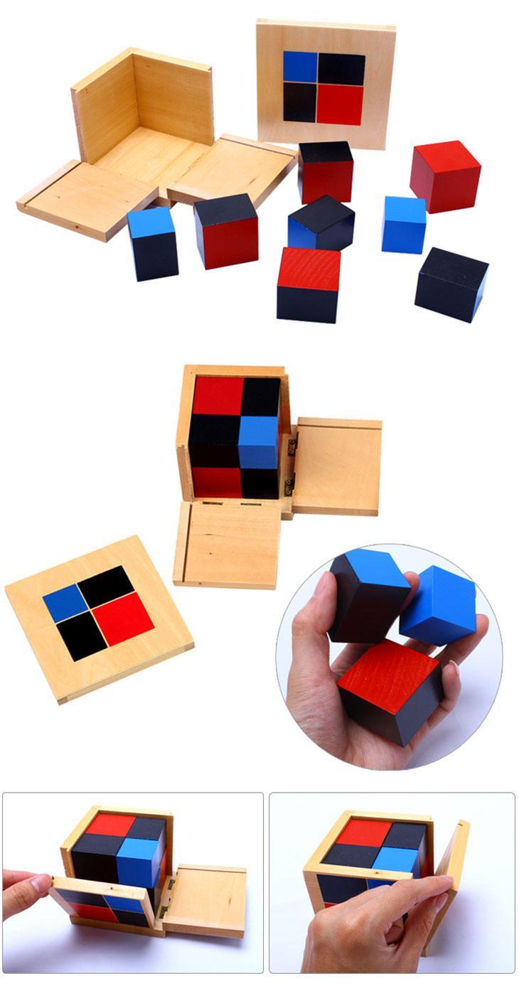 cube du binome trinome montessori activité bois