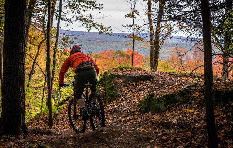 A person riding a bicycle on a trail in the woods  Description automatically generated with medium confidence