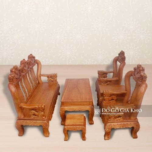 Bộ salon gỗ Gõ chạm Nghê Tay 12 - BG053