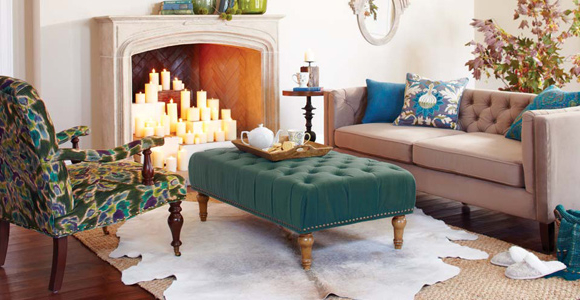 Home-decor-cyan-ottoman-with-flower-patterned-armchair.jpg