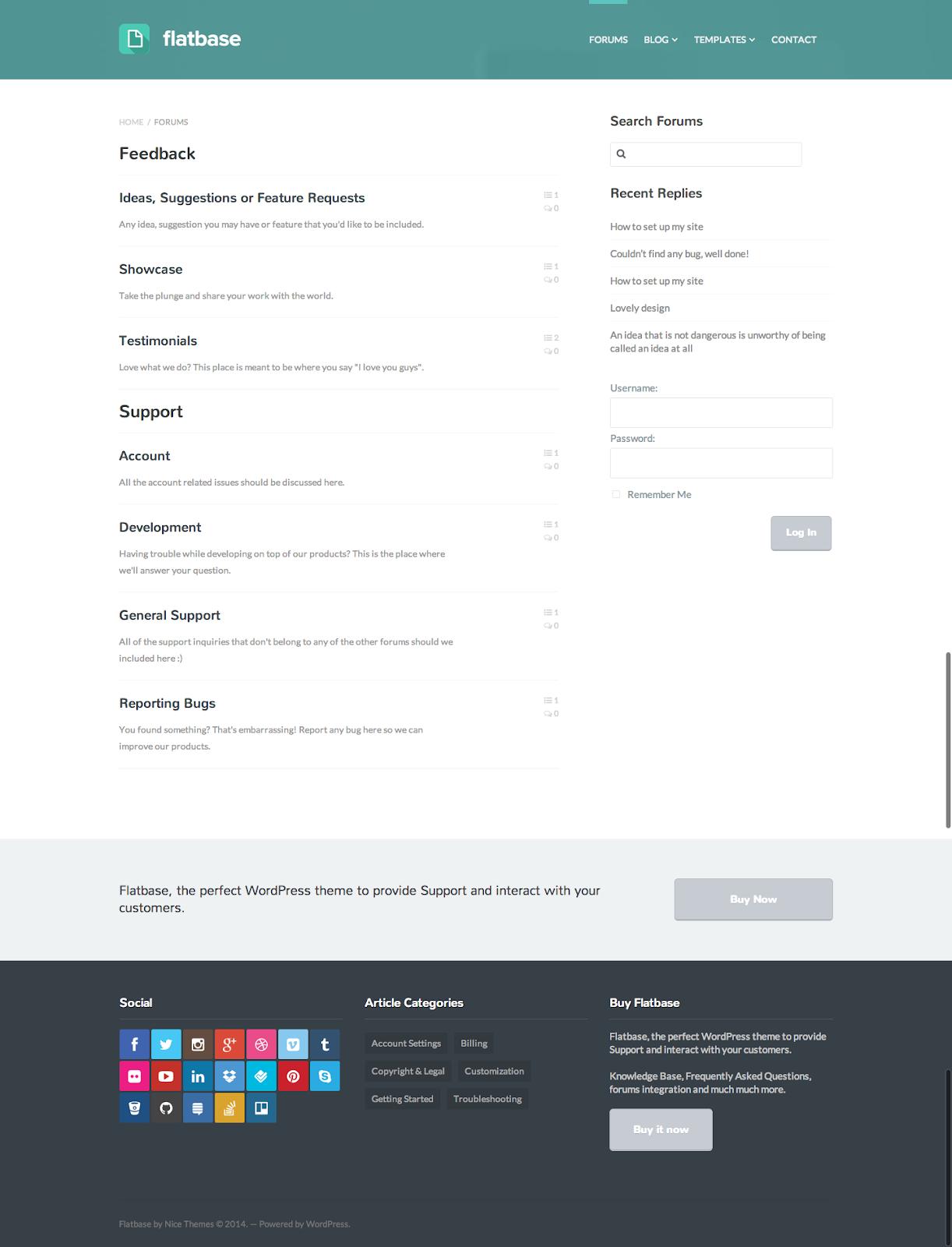 flatbase wordpress forum theme search functions demo