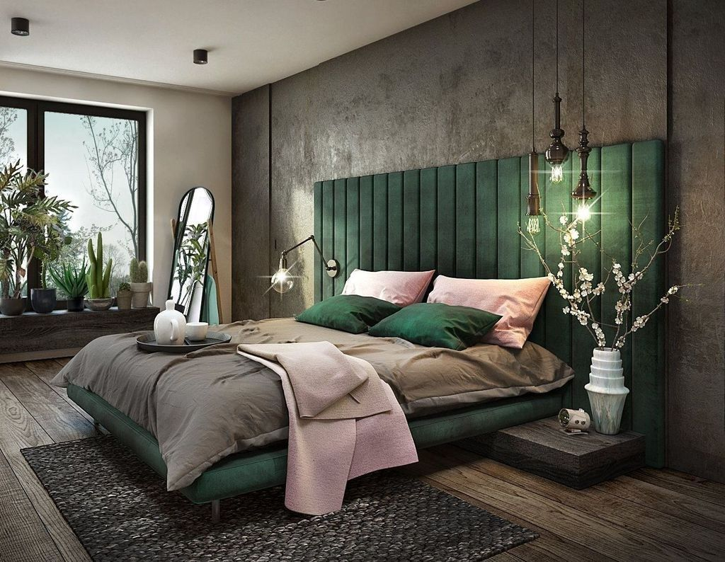 Simple Looks with A Green Headboard