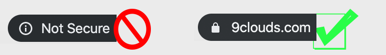 secure versus not secure website icons