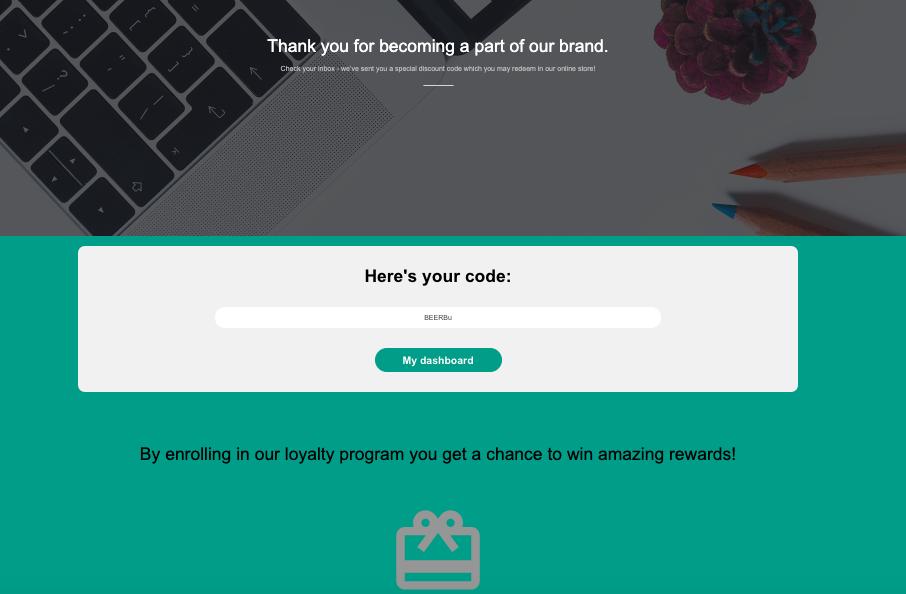 Customer receives code