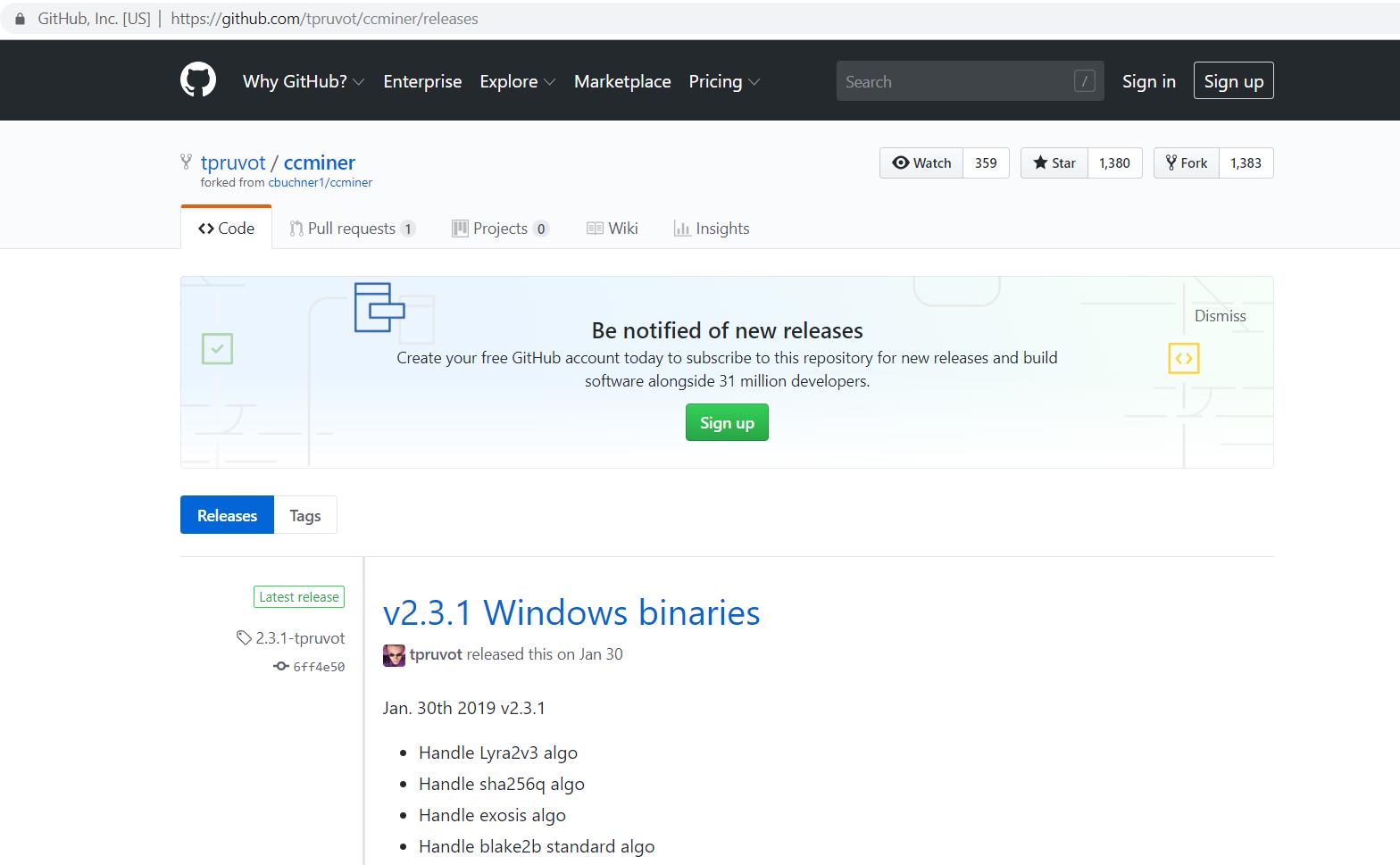 GitHub mining program page.