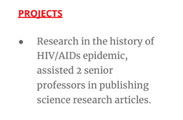 Projects section of a resume featuring accomplishments from research in bullet point format.