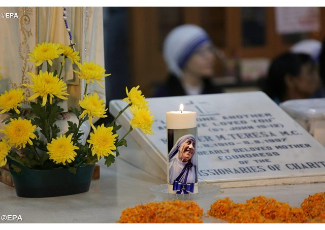 Mother Teresa's tomb at Mother House of the Missionaries of Charity in Kolkata.  - EPA