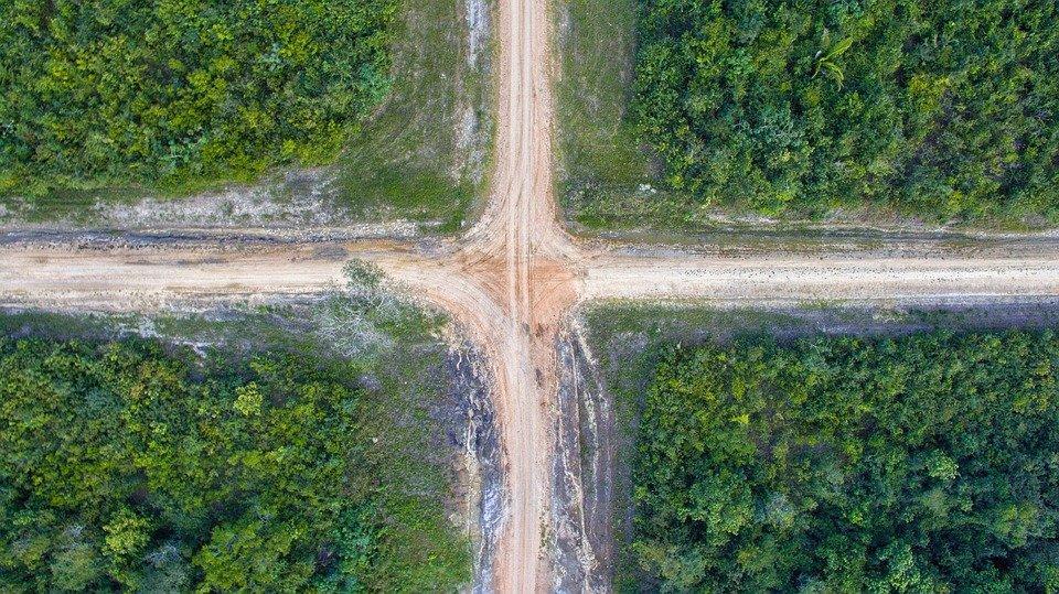 Road, Cross, Crossroad, Drone, Phantom 3, Dji, Square