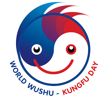 The positive energy generated by all those who practice Wushu all over the world flows above the circle, an energy that promotes physical and mental benefits in the world around us. It also suggests motion and movement of the practice itself, with the transition of colour from blue to red. The circle, a globe and a face, reflects the global celebration, as well as the traditional imagery of yin and yang. The classic red and blue IWUF colours are intensified to further create visual impact and excitement, coming alive with the yin and yang symbol as eyes for the face of Wushu. The smile on the face of wushu celebrates the fostering of community and culture between people from all walks of life as we all celebrate World Wushu-Kungfu Day together around the world.
