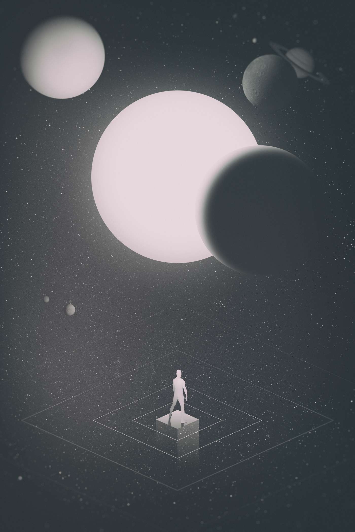 Space  universe stars Planets surreal vector geometry REMIX 3D Isometric