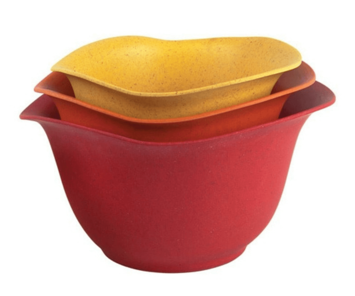 Set of three nesting mixing bowls. Red, orange and yellow.