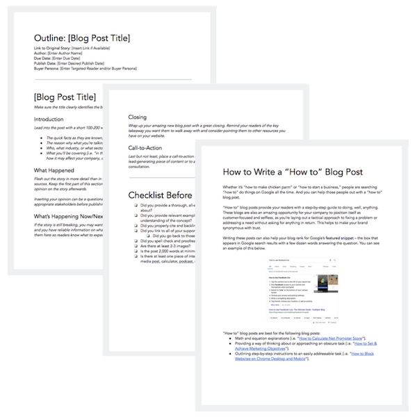 image of hubspot's free blog post templates