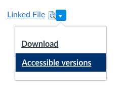 Linked File image with down arrow expanded