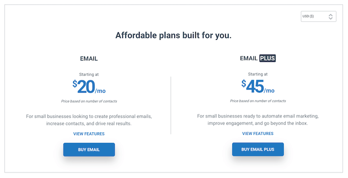 Constant Contact pricing.
