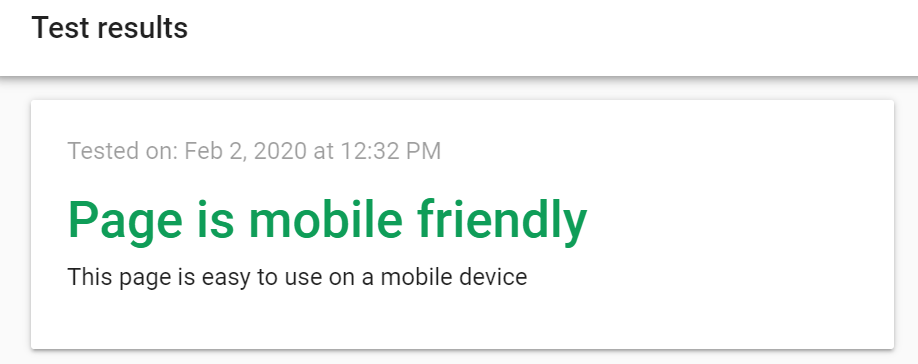 """Screenshot of Google's mobile friendly test showing the results """"Page is Mobile Friendly"""""""