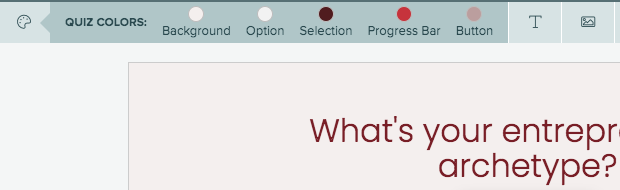 changing quiz colors and font in quiz builder