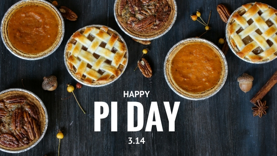 A selection of pies on a dark background including pecan pie, pumpkin pie, and a lattice-topped fruit pie. The words Happy Pi Day 3.14 are underneath the pies.