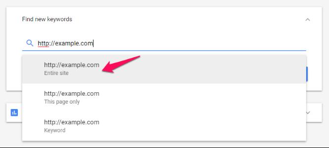 Công cụ lập kế hoạch từ khóa của Google Dán URL mới