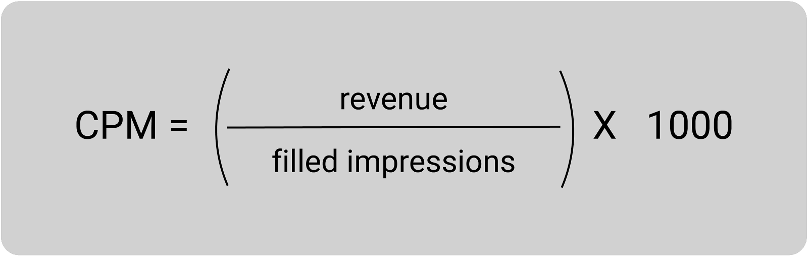 cpm equals revenue divided by filled impression times 1000