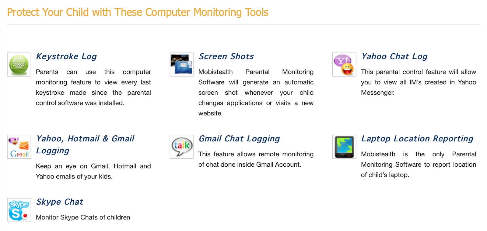 MobiStealth Monitor Computer Features