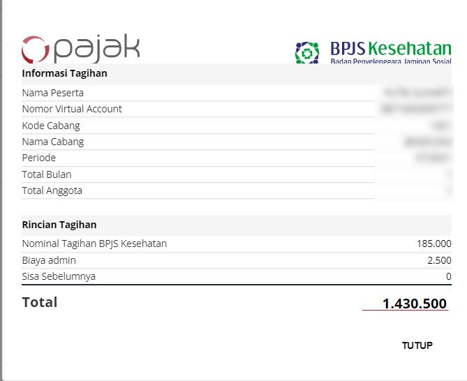 Tampilan Detail setelah pembayaran BPJS Kesehatan