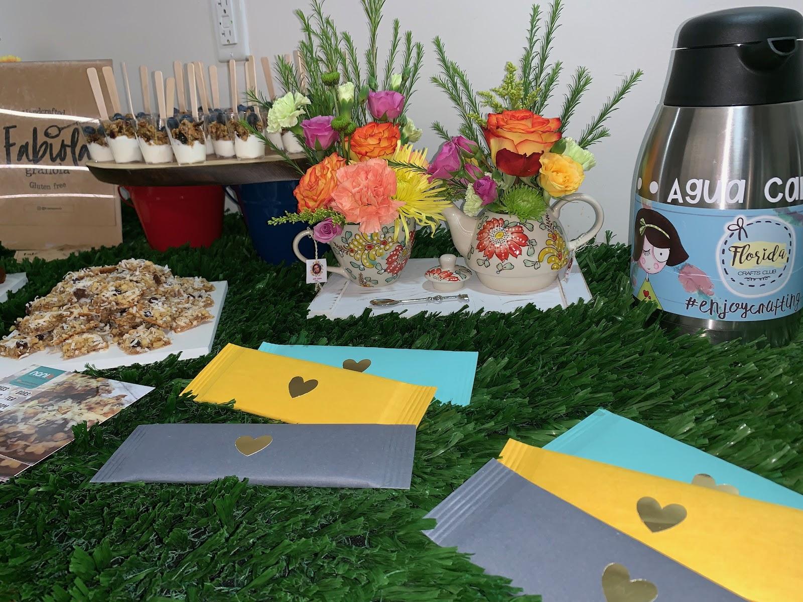 South Florida Mom Bloggers' snack table setup