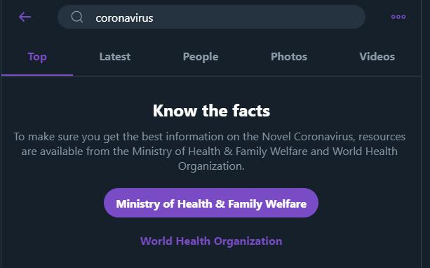 The image shows the search prompt Twitter has set up in order to encourage its users to seek information relating to the virus from official sources
