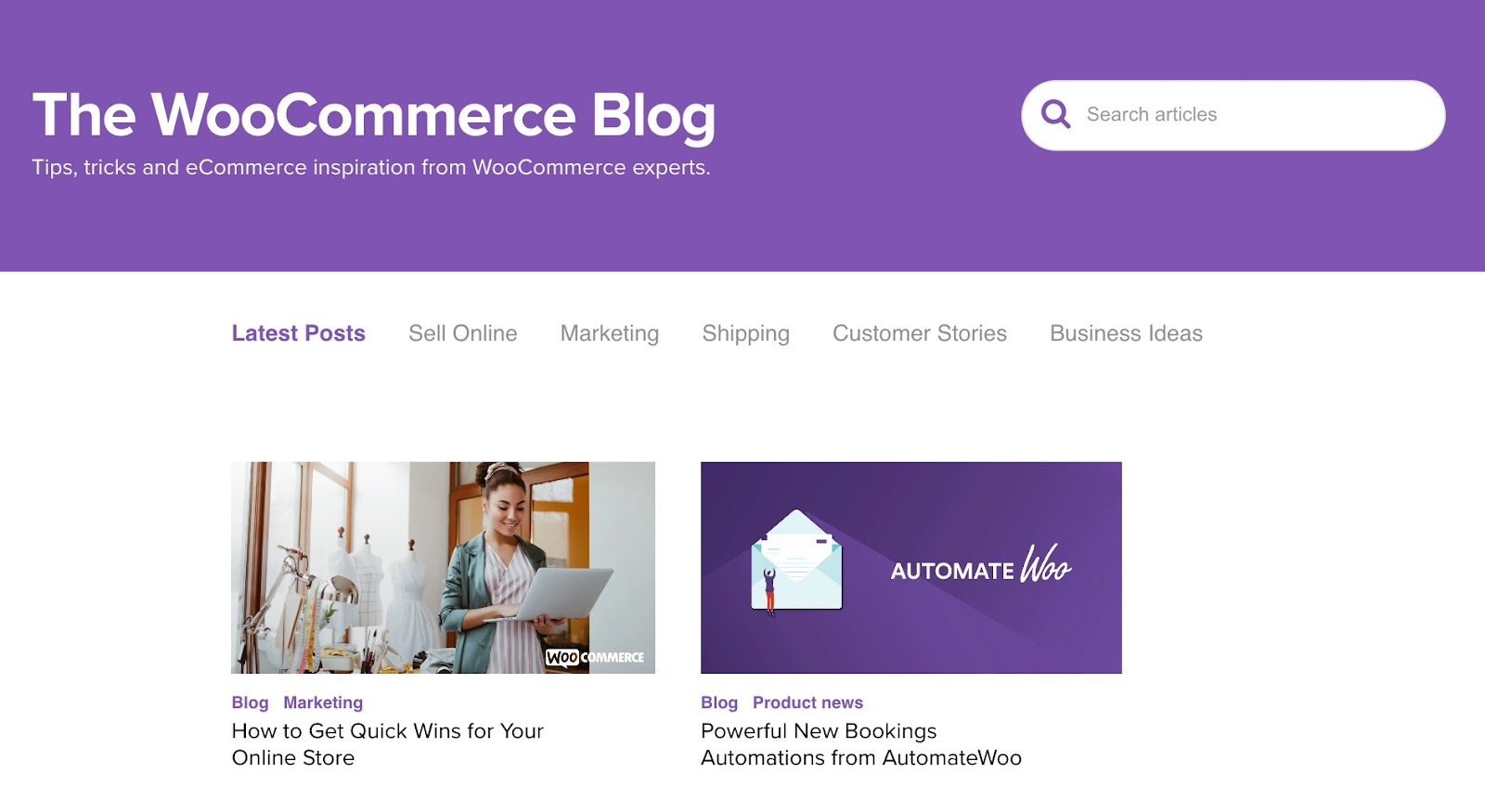 woocommerce blog