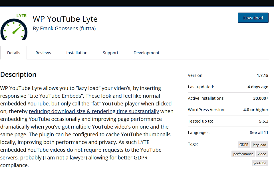 WP youtube Lyte Plugin
