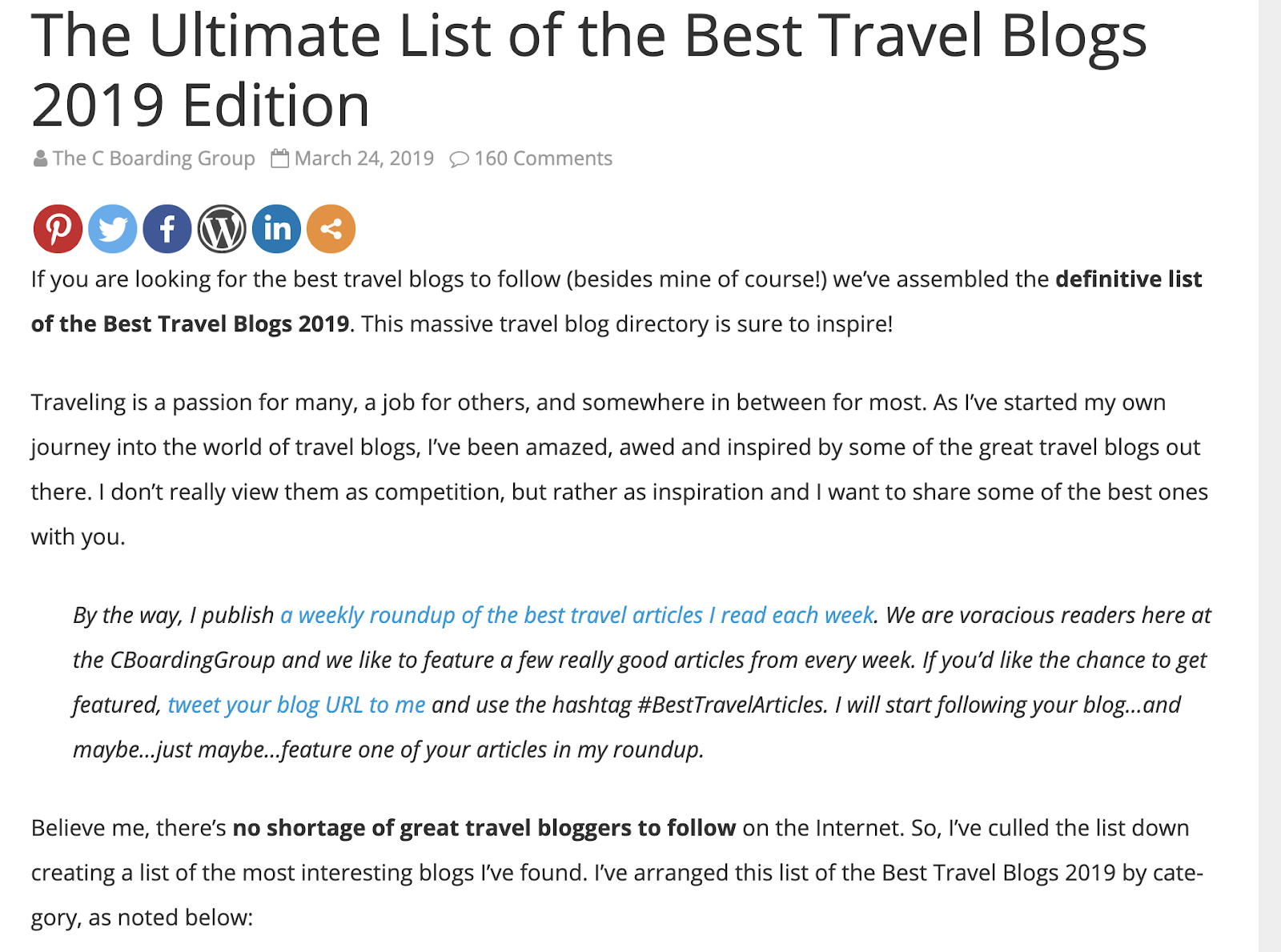 The Ultimate travel blog list