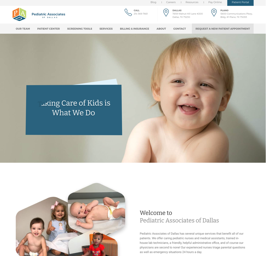 Pediatrician Website Example #2 with Analysis