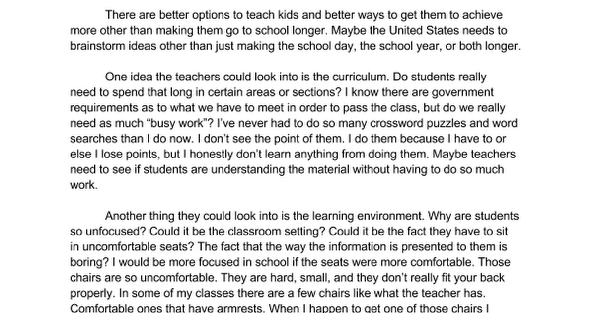 persuasive essay should school be longer google docs