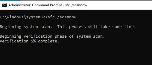 SFC /scannow command prompt window