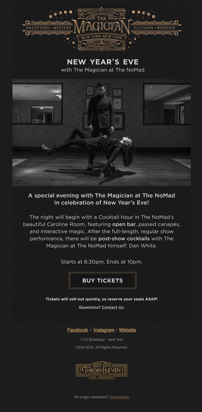 The email's look and layout tell you right away that it's an invite for an interactive magic show on New Year's Eve.
