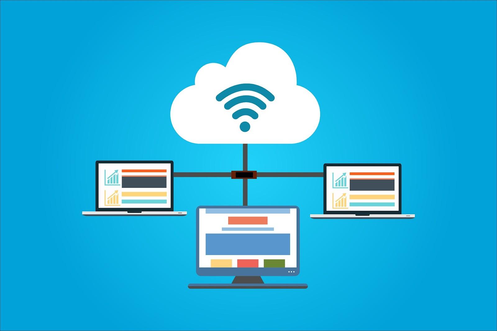 Illustration de 3 ordinateurs reliés à un serveur