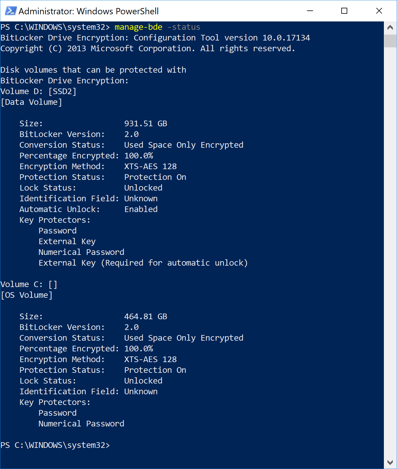 Windows Powershell terminal with a report on encryption status