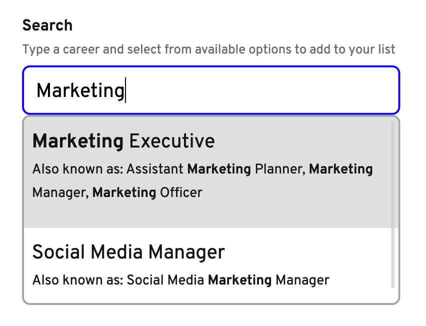 Search for careers feature