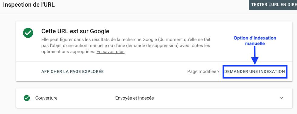Screenshot indexation manuelle