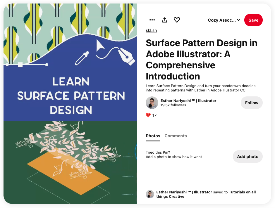 Screengrab of one of Top Teacher Esther Nariyoshi's video posts on Pinterest advertising one of her surface pattern design courses. The referral link is linked at the top of the post, right above the title. Image source: Pinterest