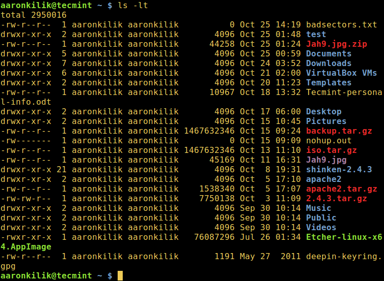 Sort ls Output by Date and Time