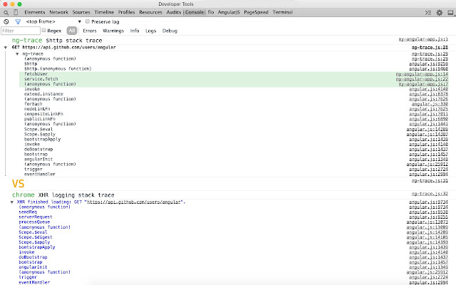ng-trace for AngularJS chrome extension